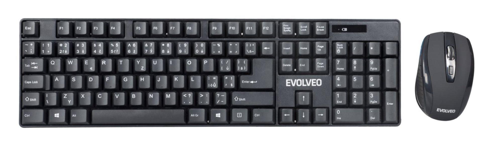 EVOLVEO WK-142, set bezdr. klávesnice a myši