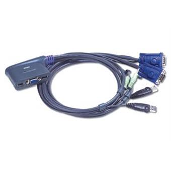 Aten 2-port KVM USB mini, 1,8 m kabely audio,