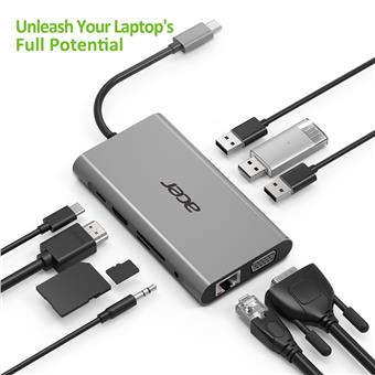 Acer USB-C Dongle 10-in-1 (PowerDelivery, HDMI, VGA, LAN, 3x USB, Card Reader, Audio)
