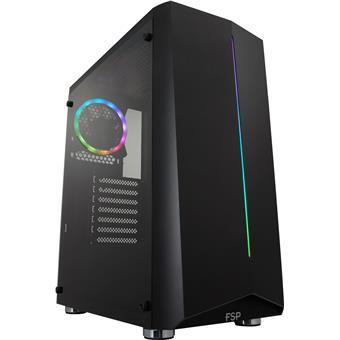 FSP/Fortron ATX Midi Tower CMT151 Black, průhledná bočnice, 1 x A. RGB LED 120 mm ventilátor