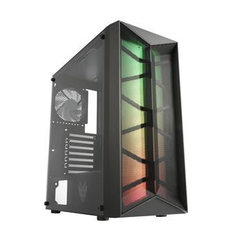 FSP/Fortron ATX Midi Tower CMT211 Black, průhledná bočnice, A.RGB