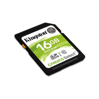 16GB SDHC Kingston Canvas Select CL10 UHS-I 80R