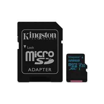 128GB microSDXC Kingston Canvas Go UHS-I U3 V30 90R/45W + SD adaptér
