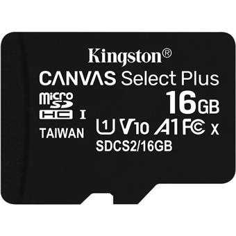 16GB microSDHC Kingston Canvas Select Plus  A1 CL10 100MB/s bez adapteru