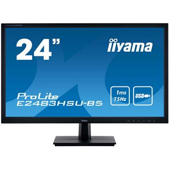 "24"" iiyama E2483HSU-B5: TN, FullHD, 250cd/m2, 1ms, VGA, DP, HDMI, USB, černý"