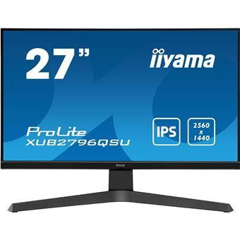 """27"""" iiyama XUB2796QSU-B1: IPS, WQHD@75Hz, 250cd/m2, 1ms, HDMI, DP, USB, FreeSync, pivot, černý"""