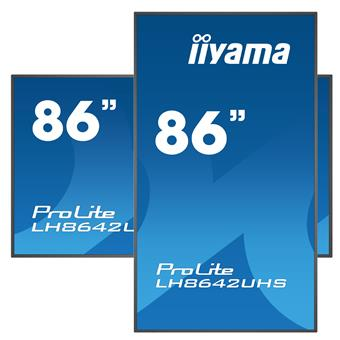 "86"" iiyama LH8642UHS-B3: IPS, 4K UHD, 500cd/m2, 18/7, LAN, Android 8.0, černý"