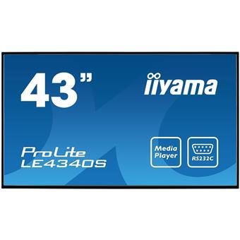 "43"" LCD iiyama ProLite LE4340S-B1 -FullHD,AMVA, 8ms, 350cd, USB 2.0 media player, RJ45, RS232C,repro"