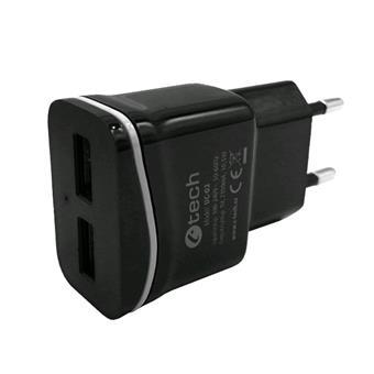 Nabíječka USB C-TECH UC-02, 2x USB, 2,1A, černá