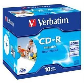 VERBATIM CD-R(10-Pack)Jewel/Printable/52x/700MB