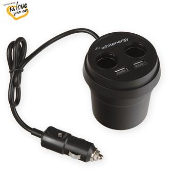 WE auto adaptér CUP 2+ 2x USB, 2xCS 5V 9.6A