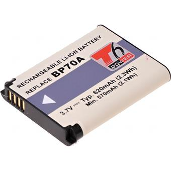 Baterie T6 power Samsung BP-70A, BP70A, SLB-70A, 620mAh, černá