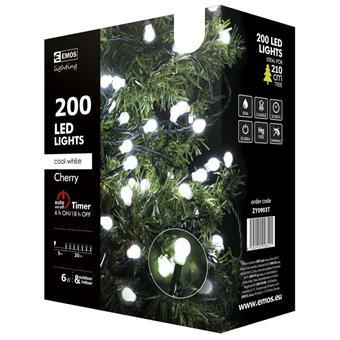 Vánoční řetěz 200LED-kuličky,20m,stud.bílá+časovač