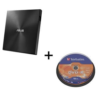 BUNDLE ASUS SDRW-08U9M-U BLACK (USB-C/A) + Verbatim DVD-R 10cake