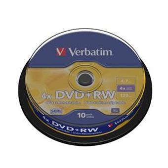 VERBATIM DVD+RW(10-Pack)Spindle4x/DLP/4.7GB