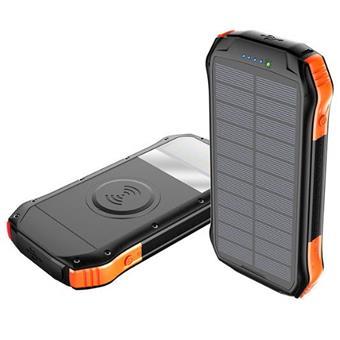 Solární powerbanka VIKING S12W QC3.0 12000mAh, outdoorová s IP66, USB-C, bezkontaktní nabíjení