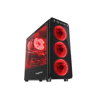 Počítačová skříň Genesis IRID 300 RED MIDI (USB 3.0), 4 ventilátory s červeným podsvícením