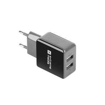 Universální nabíječka Natec 2,1A, 2x USB, černo-šedá
