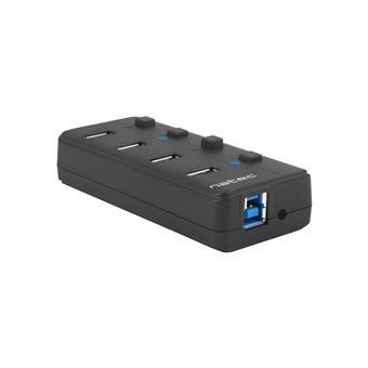 Natec Mantis 2 aktivní rozbočovač s funkcí nabíjení 4x USB 3.0 HUB, vypínač, napájecí adaptér