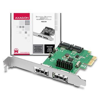 AXAGON PCES-SA4, PCIe řadič 2x int./ext. SATA III 6G ASMedia