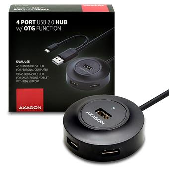 AXAGON 4x USB2.0 cable hub + micro USB OTG BLACK