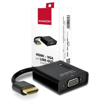 AXAGON RVH-VGA, HDMI -> VGA redukce / adaptér, FullHD, audio výstup, micro USB nap. konektor