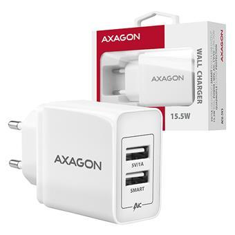 AXAGON ACU-5V3, SMART nabíječka do sítě, 2x port 5V-2.1A + 1A, 15.5W
