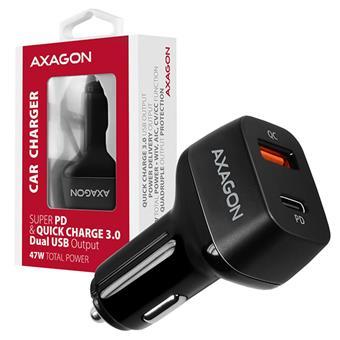 AXAGON PWC-PDQ, PD a QUICK nabíječka do auta, 2x port QC3.0/AFC/FCP/SCP + PD type-C, 47W