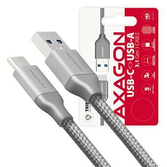 AXAGON BUCM3-AM10G, SUPERSPEED kabel USB-C  <-> USB-A 3.2 Gen 1, 1m, 3A, oplet, šedý