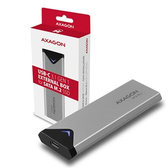 AXAGON EEM2-U3C, USB-C 3.2 Gen 1 - M.2 SATA SSD kovový box, délka 42 až 80 mm