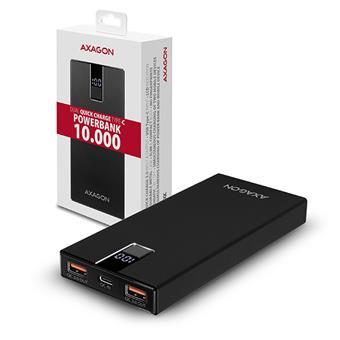 AXAGON PWB-L10QC, ALU SLIM Powerbanka Li-pol 10000mAh, 2x QC3.0 výstup, USB-C PD vstup/výstup, LCD d