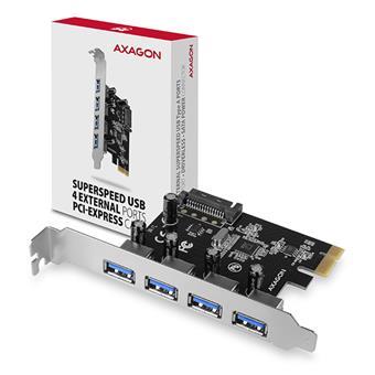 AXAGON PCEU-430VL, PCIe řadič, 4x USB 3.2 Gen 1 port, UASP