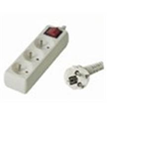 Prodlužovací přívod 230V, 2m, 3 zásuvky + vypínač