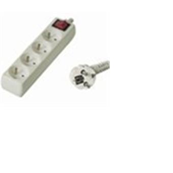 Prodlužovací přívod 230V, 2m, 4 zásuvky + vypínač
