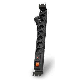 Acar S8 FA Rack 1,5m kabel, 8 zásuvek, přepěťová ochrana, do racku, černá