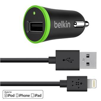 BELKIN Micro USB autonabíječka,2.4A+ Lightning,čer