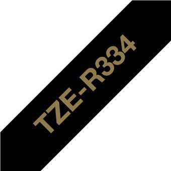 Brother TZE-R334 zlatá na černé, 12 mm, textilní páska