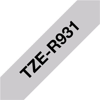 Brother TZE-R931 černá na stříbrné, 12 mm, textilní páska