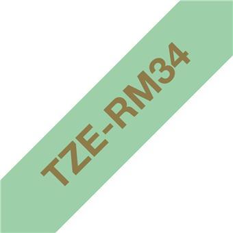 Brother TZE-RM34 zlatá na mentol.zelené, 12 mm, textilní páska