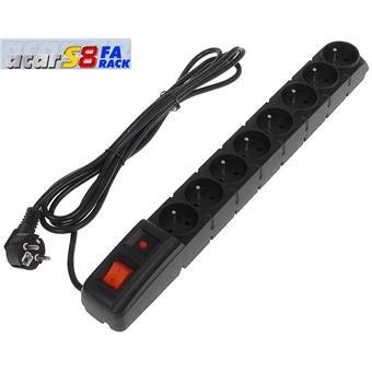 "19"" napáj.panel ACAR S8/3m 8x220V Black+přep.ochr."