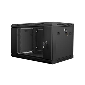 Nástěnný rack 19'' 6U 600X450mm černý flat pack