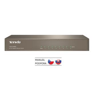 Tenda TEG1008D 8-port Gigabit Switch, 8x 10/100/1000 Mb/s, Fanless-bez ventilátorů, Kov, 9K Jumbo