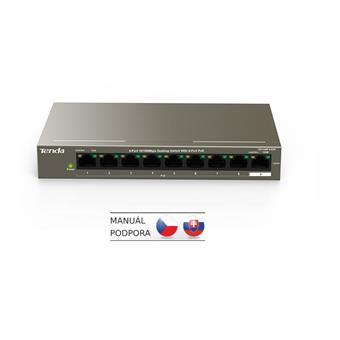 Tenda TEF1109P-8-63W PoE AT switch 8x PoE 802.3af/at, 9x 100Mb/s, PoE celkem 63W, fanless