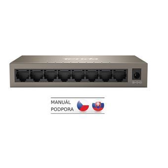 Tenda TEG1008M 8-port Gigabit Switch, 8x 10/100/1000 Mb/s, Fanless, MAC 4K, napájení AC/DC, i na zeď
