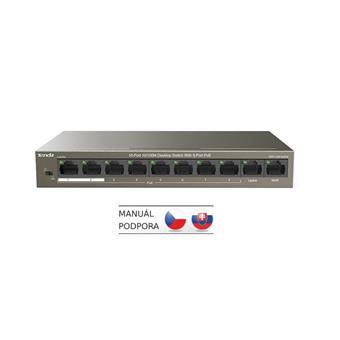 Tenda TEF1110P-8-63W PoE AT switch - 8x PoE 100 Mb/s + 2x Uplink 100 Mb/s, PoE max 63W, fanless