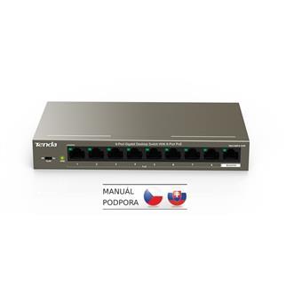 Tenda TEG1109P-8-102W PoE AT switch 8x PoE 802.3af/at + 1x Uplink, 9x 1 Gb/s, PoE 102W, fanless