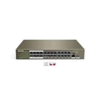Tenda TEF1126P-24-250W PoE AF / AT switch - 24x PoE 100 Mb/s + 2x Uplink 1Gb/s RJ45/SFP, PoE 225W