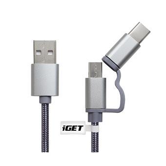 iGET G2V1 - USB kabel Micro USB/ USB - C dlouhý pro veškeré mobilní telefony, včetně odolných