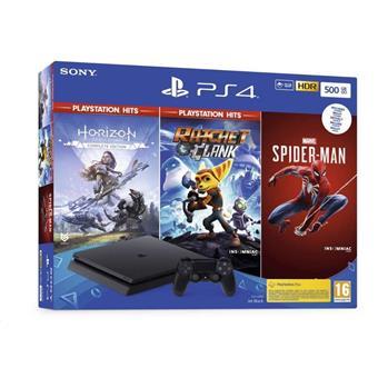 PS4 - Playstation 4 černý 500GB + HZN HITS/ Marvel Spider Man / R&C HITS