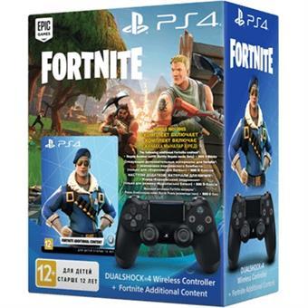PS4 - DualShock 4 Controller BLACK v2 + Fortnite 500 V Bucks